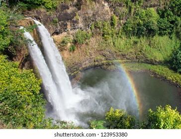 Wailua Falls, an 80-ft. high waterfall on the Wailua River,