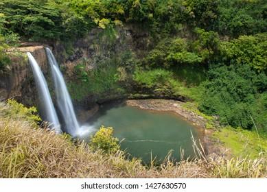 Wailua Falls View From The Top In Kauai