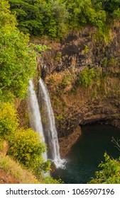 Wailua Falls in the western highlands of Kauai, Hawaii