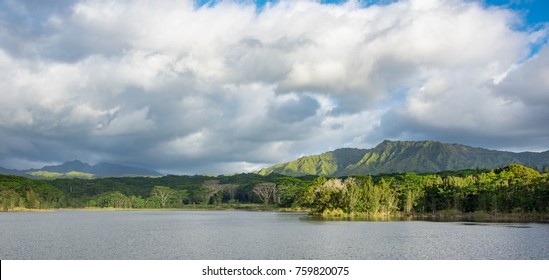 Wailua Reservoir with lush mountians in the distance.  The reservoir is located on the island of Kauai, Hawaii and is used for agriculture and fresh water fishing.