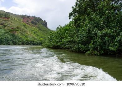Wailua river and Kalepa mountain