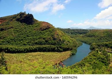 Wailua River Mountain Landscape Kauai Hawaii Island