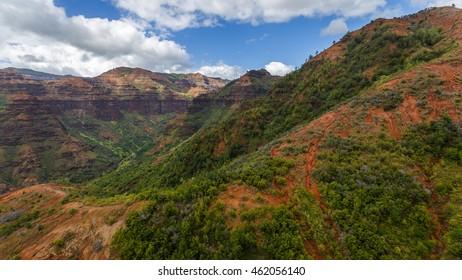 Waimea Canyon, aerial shot from a helicopter, Kauai, Hawaii.