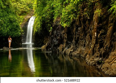 Wainibau Waterfall at the end of Lavena Coastal Walk on Taveuni Island, Fiji. Taveuni is the third largest island in Fiji.