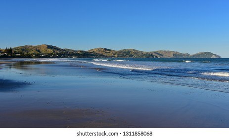 Wainui Beach with great view of nearby mountain ridges in Gisborne, Hawkes Bay, New Zealand