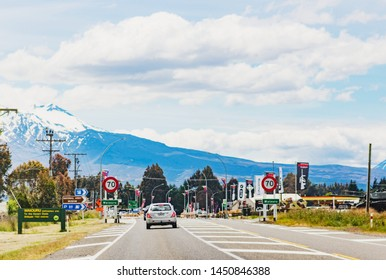 Waiouru, New Zealand - December 15, 2017: Vehicles travelling along State Highway One  entering the small town of Waiouru in the Ruapehu District.
