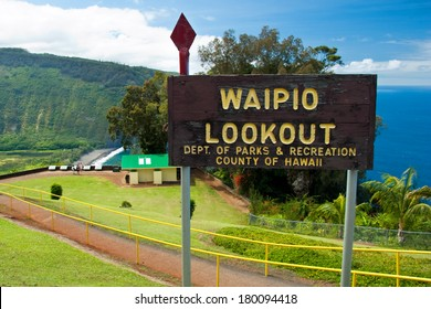 Waipio valley lookout sign on Hawaii Big Island