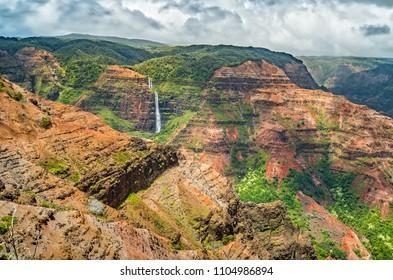 Waipoo Falls in Waimea Canyon, Kauia, Hawaii