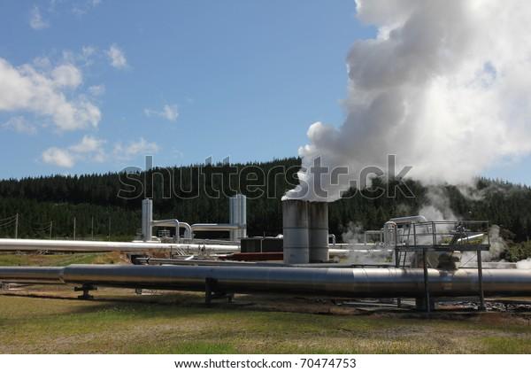 Wairakei Geothermal Power Plant Taupo New Stock Photo (Edit