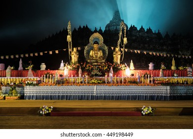 waisak, vesak, altar, Buddha day celebration at the Borobodur temple Indonesia, 2016