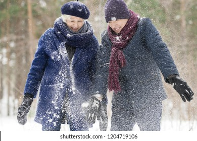 Waist up portrait  of carefree senior couple playing with snow in winter forest