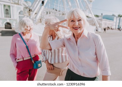 Waist up portrait of cool laughing older ladies are taking photos and perfectly spending time in the park