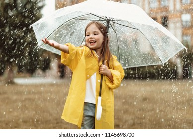 Waist up portrait of delighted young girl standing under umbrella with stretched hand. She is blissful to spend leisure outdoors