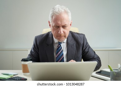 Waist-up portrait of concentrated senior businessman wearing classical suit sitting at office desk and working on important project with help of laptop