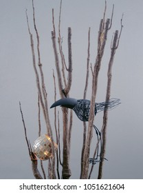 Wait for spring display objet crow and tree