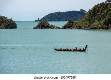 Waitangi Day In New Zealand, Maori Canoe (Waka) Crossing Paihia Bay