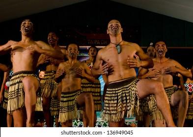 WAITANGI - FEB 6 2013:Maori people sing and dance during Waitangi Day on February 6 in Waitangi NZ.It's a New Zealand public holiday to celebrate the signing of the Treaty of Waitangi in 1840.