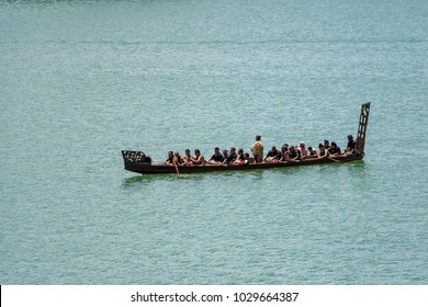 WAITANGI - FEB 6: Maori Waka (canoe), February 6 2018 in Waitangi NZ.It's a New Zealand public holiday to celebrate the signing of the Treaty of Waitangi in 1840.