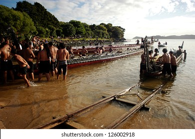 WAITANGI - FEB 6:Maori warriors sail waka boat during Waitangi Day on February 6 2004 in Waitangi NZ.It's a New Zealand public holiday to celebrate the signing of the Treaty of Waitangi in 1840