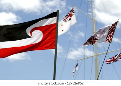 WAITANGI - FEB 6:The national Maori flag fly during Waitangi Day on February 6 2013 in Waitangi NZ.It's a New Zealand public holiday to celebrate the signing of the Treaty of Waitangi in 1840.