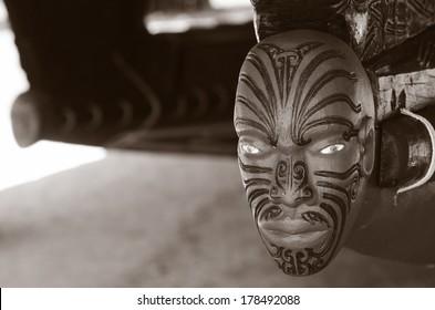 WAITANGI - JAN 07: Wood curving decoration on the 35m Maori Waka (war canoe) on Jan 07 2014 in Waitangi National Reserve, Bay of Islands, Far North District, Northland Region, New Zealand (NZ). (BW)