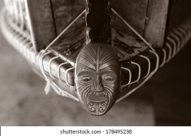 WAITANGI - JAN 07:Wood curving decoration on the 35m Maori Waka (war canoe) on Jan 07 2014 in Waitangi National Reserve, Bay of Islands, Far North District, Northland Region, New Zealand (NZ). (BW)