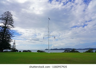 WAITANGI, NEW ZEALAND -28 JUL 2018- View of the Waitangi Treaty Grounds, where the Declaration of Independence of New Zealand and the Treaty of Waitangi were signed near Paihia, Bay of Islands.