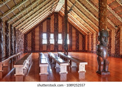 Waitangi / New Zealand - December 2 2012: Interior of a Maori Meeting House, or Wharenui