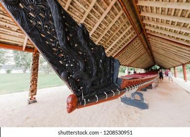 WAITANGI, NEW ZEALAND – JANUARY 2, 2009: Wooden Maori war canoe in Waitangi, New Zealand. It is 35m long, 2m wide and can carry 130 people.