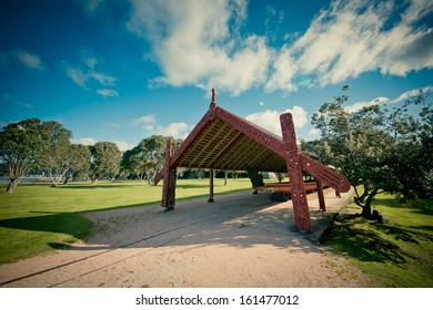 WAITANGI, NEW ZEALAND - SEPTEMBER 07: The Whare Waka (Canoe house) with 35 metre Waka on Sept 7 2013 in Waitangi National Reserve, Bay of Islands, Far North District, Northland Region, New Zealand (NZ).