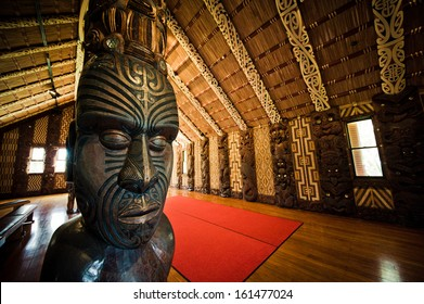 WAITANGI, NEW ZEALAND - SEPTEMBER 07: Maori Marae (meeting house) Treaty Grounds on Sept 7 2013 in Waitangi National Reserve, Bay of Islands, Far North District, Northland Region, New Zealand (NZ).