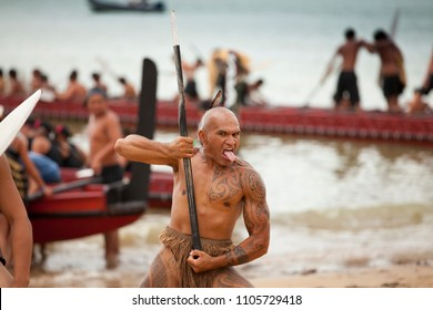 Waitangi, New Zeland, North Island, 02-06-2017,Maori warriors with tatoos, celebrating Waitangi Day, the anniversary of the treaty of Waitangi between the British government and the maori