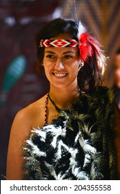 WAITANGI, NZ - FEB 6: Maori dancer, Feb 6, 2014. Waitangi day is a public holiday to celebrate the signing of the Treaty of Waitangi