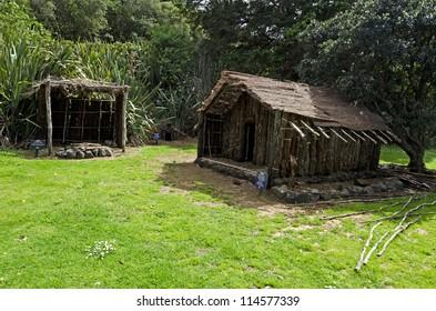 WAITANGI - OCTOBER 02: A traditional Maori village on Oct 02 2012 in Waitangi National Reserve, Bay of Islands, Far North District, Northland Region, New Zealand (NZ).