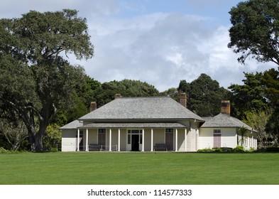 WAITANGI - OCTOBER 02: The Treaty House on Oct 02 2012 in Waitangi National Reserve, New Zealand.The Treaty of Waitangi was signed in the grounds of the Treaty House on 6 February 1840.