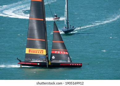 Waitemata Harbour, Auckland, New Zealand - January 29 2021: Luna Rossa leading American  Magic in the 1st semi-final of the Prada Cup to determine the Challenger for the 36th America's Cup.