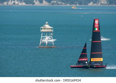 Waitemata Harbour, Auckland, New Zealand - January 29 2021: Luna Rossa racing in the 1st semi-final of the Prada Cup to determine the Challenger for the 36th America's Cup.