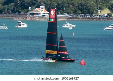 Waitemata Harbour, Auckland, New Zealand - January 29 2021: Luna Rossa approaching the top gate in the 2nd semi-final of the Prada Cup to determine the Challenger for the 36th America's Cup.