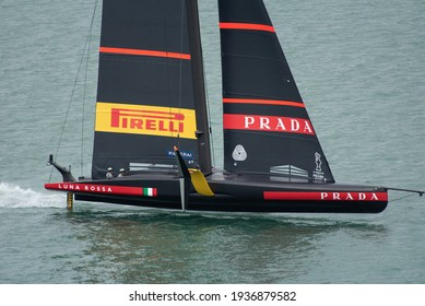 Waitemata Harbour, Auckland, New Zealand - March 16 2021: Luna Rossa Prada Pirelli before the ninth race of the 36th America's Cup.