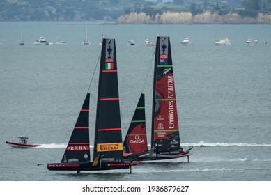 Waitemata Harbour, Auckland, New Zealand - March 16 2021: Emirates Team New Zealand, Te Rehutai and Luna Rossa Prada Pirelli during the ninth race of the 36th America's Cup.