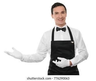 Waiter in black apron on white background