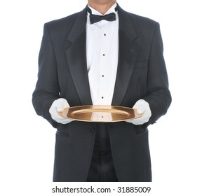 Waiter or butler Wearing Tuxedo Holding Tray with White Gloved Hands on an isolated white background