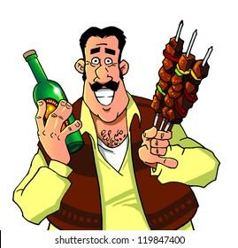 Waiter delivering bottle of wine and kebab.