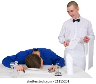 Waiter and guest of restaurant on a white background