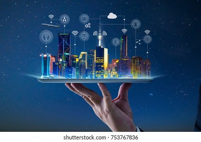 Waiter hand holding an empty digital tablet with Smart city with smart services and icons, internet of things, networks and augmented reality concept , night scene . - Shutterstock ID 753767836