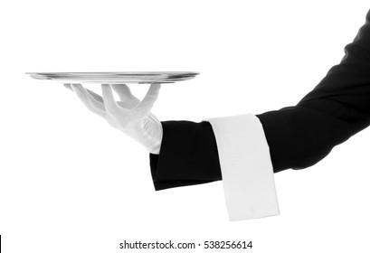 Waiter hand with tray on white background