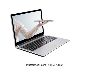 Waiter holding empty silver tray out of a laptop screen isolated on white
