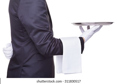 Waiter holding a empty silver tray, isolated on white background