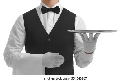 Waiter holding empty silver tray on white background
