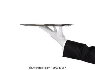 Waiter holding empty silver tray isolated on white background with copy space